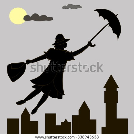mary poppins vector in the sky
