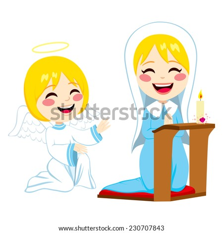 mary praying happy and angel