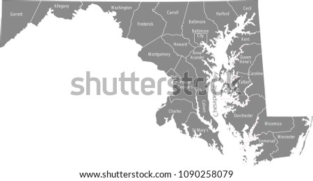 Maryland county map vector outline in gray background. Maryland state of USA map with counties names labeled