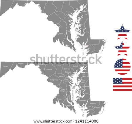 Maryland county map vector outline in gray background. Maryland state of USA map with counties names labeled and United States flag icon vector illustration designs