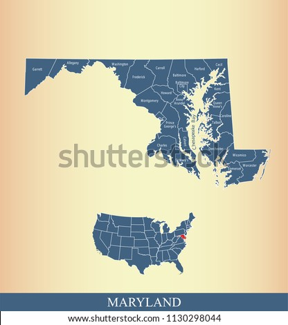 Maryland county map vector outline with counties names labeled and USA map in blue background