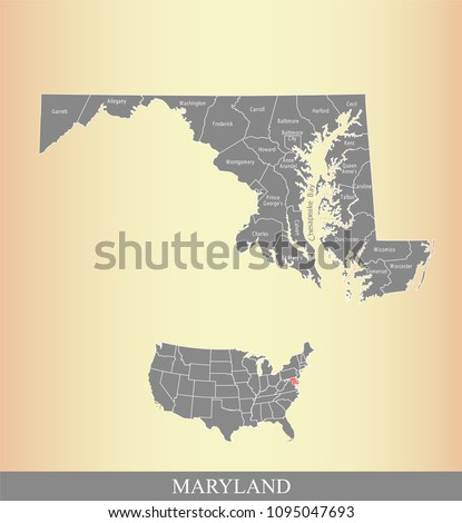 Maryland county map with names. Maryland state of USA map vector outline