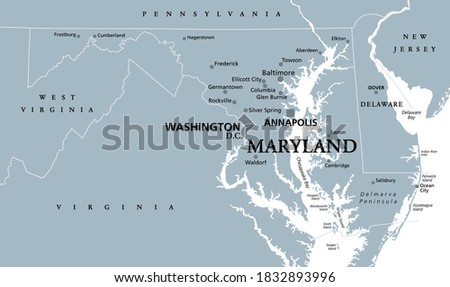 Maryland, MD, gray political map. State in Mid-Atlantic region of United States of America. Capital Annapolis. Old Line State. Free State. Little America. America in Miniature. Illustration. Vector.