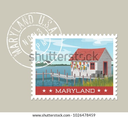 Maryland postage stamp design. Vector illustration of fishing shack, colorful buoys and pier at waters edge. Grunge postmark on separate layer.