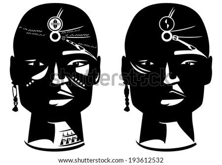 masai warrior face vector