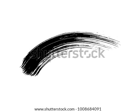 Mascara brush stroke isolated on white background. Vector black stain or eye cosmetic makeup texture swatch.