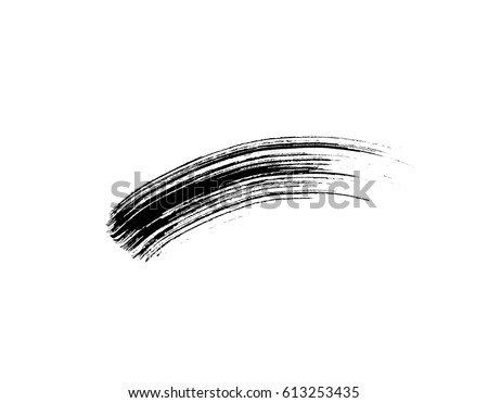 Mascara brush stroke makeup isolated on white background. Vector black hand drawn lash scribble swatch for fashion cosmetic makeup design.