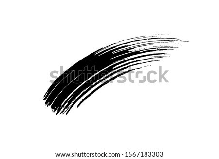 Mascara eyelashes brush stroke isolated on white background. Vector black hand drawn lash scribble texture. Mascara swatch cosmetic makeup design.