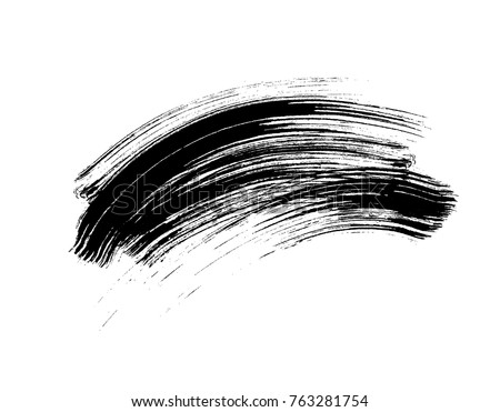 Shutterstock Mascara eyelashes brush stroke makeup isolated on white background. Vector black hand drawn lash scribble mascara texture swatch for fashion cosmetic makeup design.
