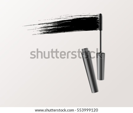 Mascara fashion banner, clear template for advertising or magazine page. Realistic vector cosmetic objects