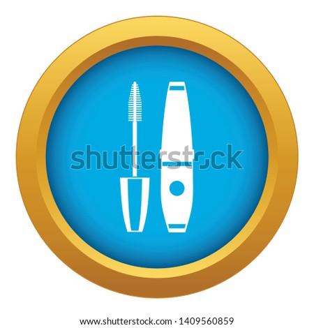 Mascara, mascara brush icon blue vector isolated on white background for any design