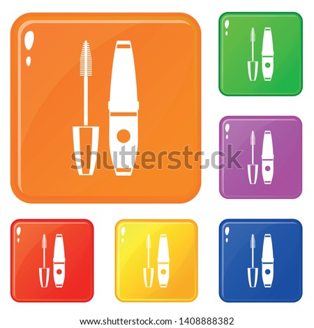 Mascara, mascara brush icons set collection vector 6 color isolated on white background