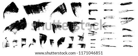 Mascara strokes set. Grunge backgrounds collection. Lashes cosmetic. Brush smudge. Smear. Mascara applicator stains isolated on white. Black mascara. Woman beauty. Eyelashes. Make up. Beauty product.