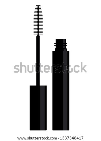 Mascara: tube and brush. Vector mascara on a white background.