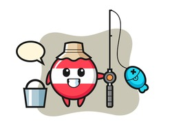 Mascot character of austria flag badge as a fisherman, cute style design for t shirt, sticker, logo element