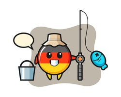 Mascot character of germany flag badge as a fisherman, cute style design for t shirt, sticker, logo element