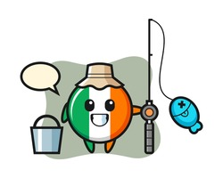 Mascot character of ireland flag badge as a fisherman, cute style design for t shirt, sticker, logo element