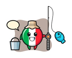 Mascot character of italy flag badge as a fisherman, cute style design for t shirt, sticker, logo element