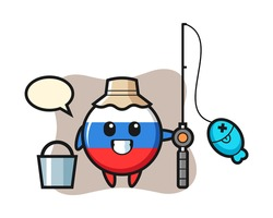Mascot character of russia flag badge as a fisherman, cute style design for t shirt, sticker, logo element
