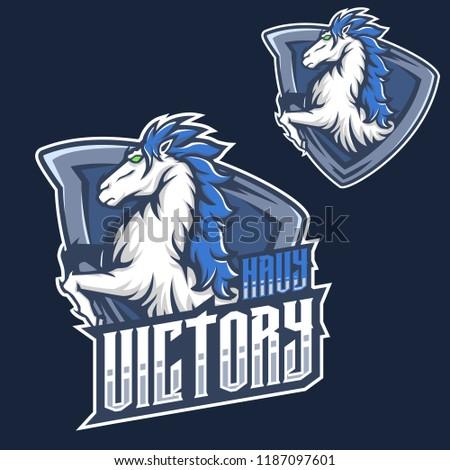 Mascot f mustang horse head esport gaming mascot logo template