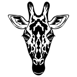 Mascot. Head of giraffe. Vector illustration black color front view of wild animal isolated on white background. For decoration, print, design, logo, sport clubs, tattoo, t-shirt design, stickers