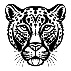 Mascot. Head of leopard. Vector illustration black color front view of wild cat isolated on white background. For decoration, print, design, logo, sport clubs, tattoo, t-shirt design, stickers,apparel