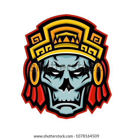 c40326368 Mascot icon illustration of a skull of a noble Aztec warrior wearing wood  helmet or headdress · Tribal Fusion Boho Diva. Black and white illustration  ...