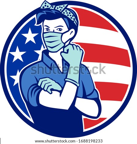 Mascot icon illustration of American Rosie the riveter as medical healthcare essential worker wearing a surgical mask and saying we can do it with USA stars and stripes flag set in circle retro style. Сток-фото ©