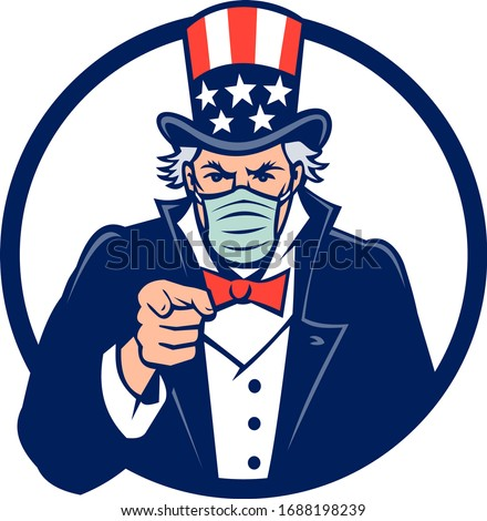 Mascot icon illustration of American Uncle Sam, national personification of the U.S. government, wearing a surgical mask, pointing at the viewer set in circle on isolated background in retro style. Zdjęcia stock ©