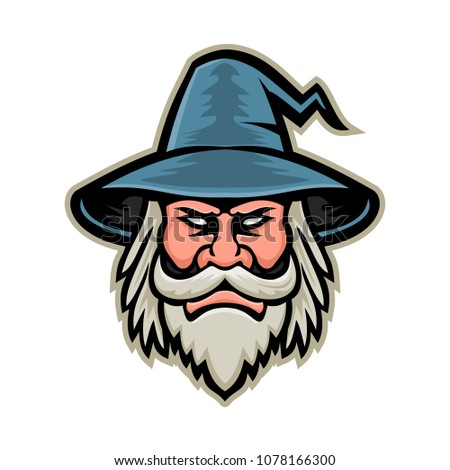 Mascot icon illustration of head of a black wizard, sorcerer or magician, a practitioner of magic and witchcraft wearing a pointed hat viewed from front on isolated background in retro style. Сток-фото ©