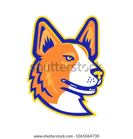Mascot icon illustration of head of a Cardigan Welsh Corgi or Cardi dog looking to side viewed from  on isolated background in retro style. Foto stock ©
