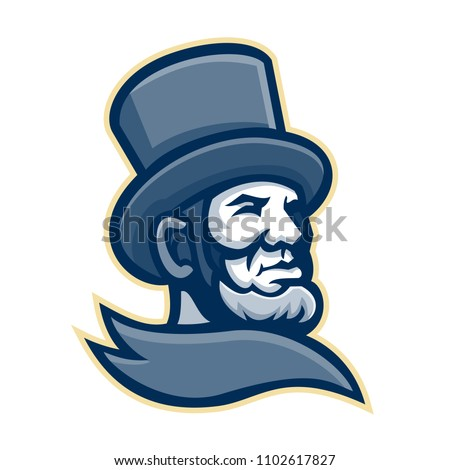 Mascot icon illustration of head of the 16th American president Abraham Lincoln wearing top hat or topper viewed from high angle on isolated background in retro style.