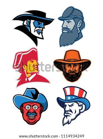 mascot icon illustration set of