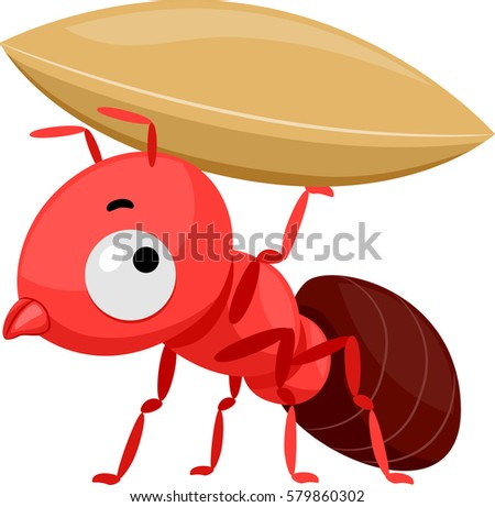 Mascot Illustration Featuring a Cute Little Red Ant Carrying a Small Grain