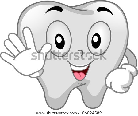 Mascot Illustration Featuring a Tooth Using the Stop Signal