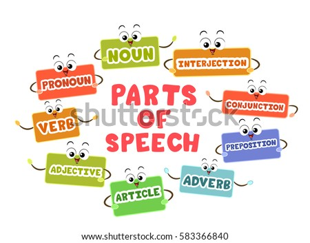 Mascot Illustration Featuring Flash Cards Representing the Different Parts of Speech