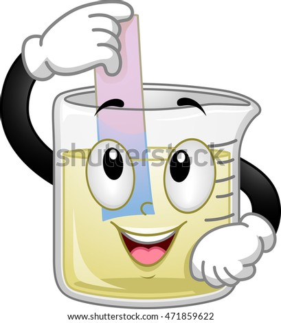 Mascot Illustration of a Beaker Performing a Litmus Test