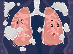 Mascot Illustration of a Pair of Lungs Coughing After Inhaling Smoke