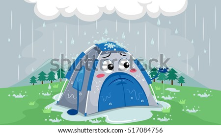Mascot Illustration of a Sad Tent Drenched in Rain After Getting Caught in a Thunderstorm Outside