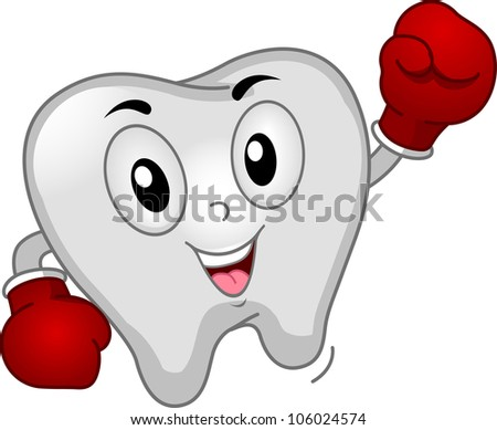 Mascot Illustration of a Tooth Dressed Like a Boxer - stock vector