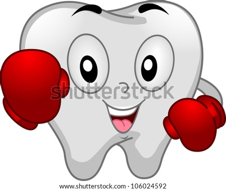 Mascot Illustration of a Tooth Dressed Like a Boxer