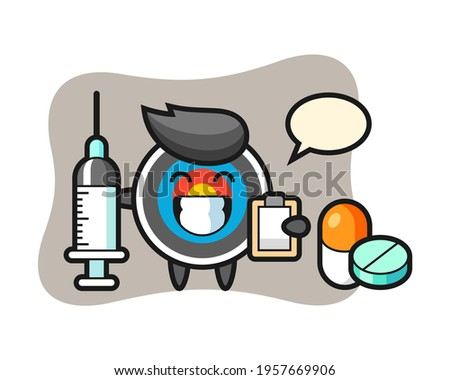 Mascot illustration of target archery as a doctor, cute style design for t shirt, sticker, logo element ストックフォト ©