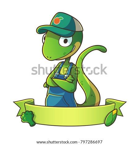 mascot lizard wearing hat half...