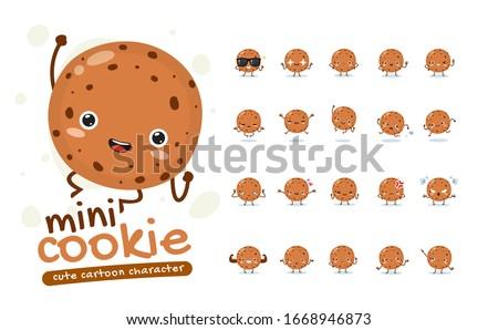 Mascot Set of the mini cookie. Twenty Mascot poses. Isolated Vector Illustration