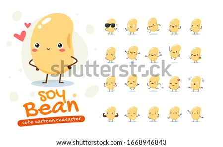 Mascot Set of the Soy Bean. Twenty Mascot poses. Isolated Vector Illustration