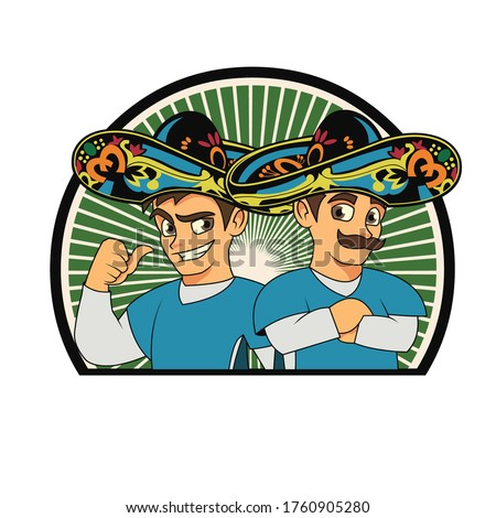 Mascot vector character Amigos wears a hat with a background to display a lively impression Foto stock ©