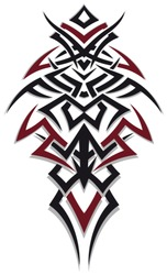 Masculine jagged Tribal Tattoo Ornament. Red and black.