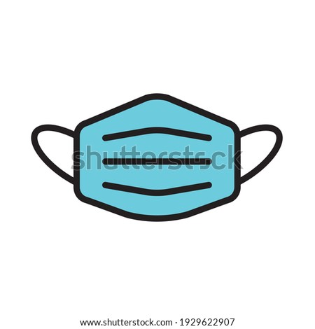 Mask covid-19 coronavirus quarantine campaign flat simple line icon. Medical-surgical mask. Protective mask for COVID 19 virus. Outline symbol for simple mask icon. Free editable vector illustrations.