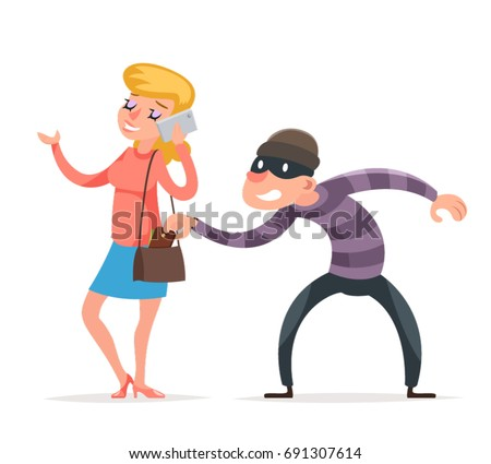 Mask Criminal Male Stealing Thief Purse from Hapless Female Girl Character Isolated Icon Cartoon Design Template Vector Illustration Stockfoto ©