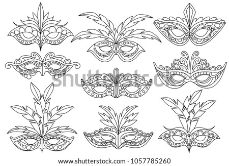 mask for coloring book set of
